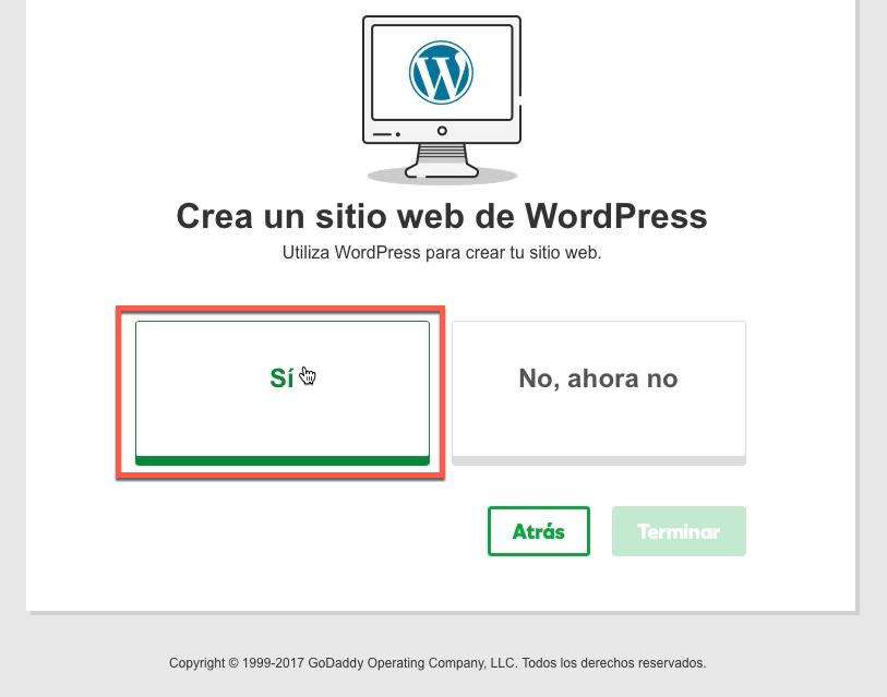 crear y registrar wordpress en cPanel godaddy