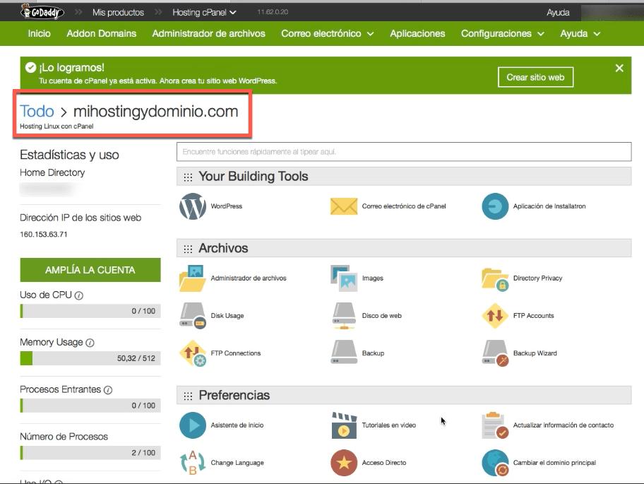 dominio y hosting configurado en Godaddy