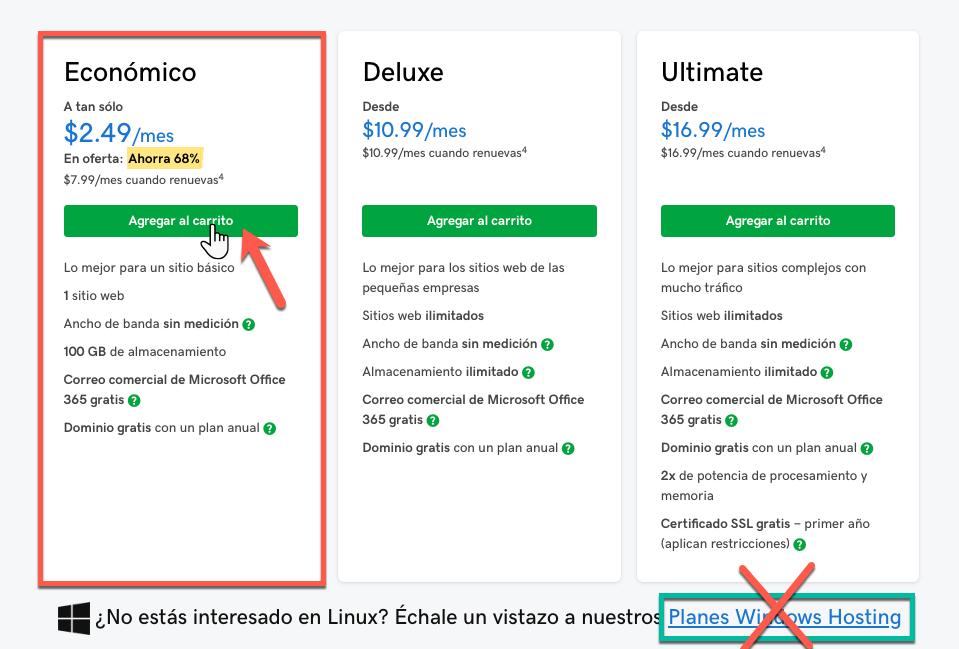 paquete economico hosting y dominio Godaddy